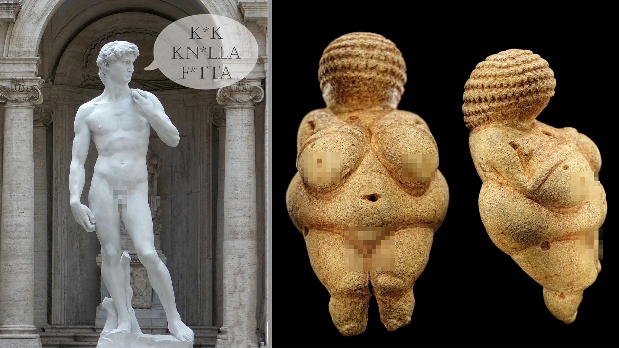 Foto på romersk naken staty och foto på Venus från Willendorf med pixlade kön.