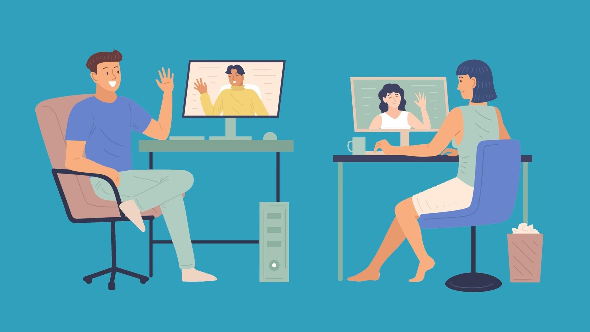 Illustration av två personer som sitter framför varsin dator och och videomöte och viftar med händerna.