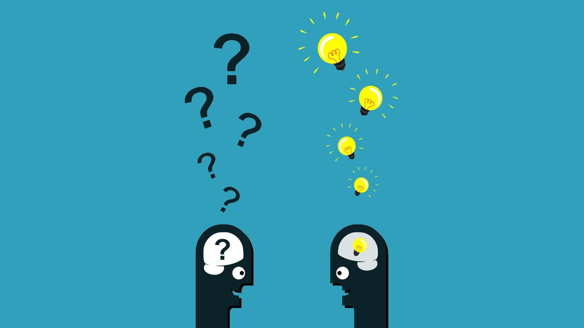 Illustration av två tecknade gubbar, ur den enas huvud kommer frågetecken och ur den andras glödlampor. Grammatik.