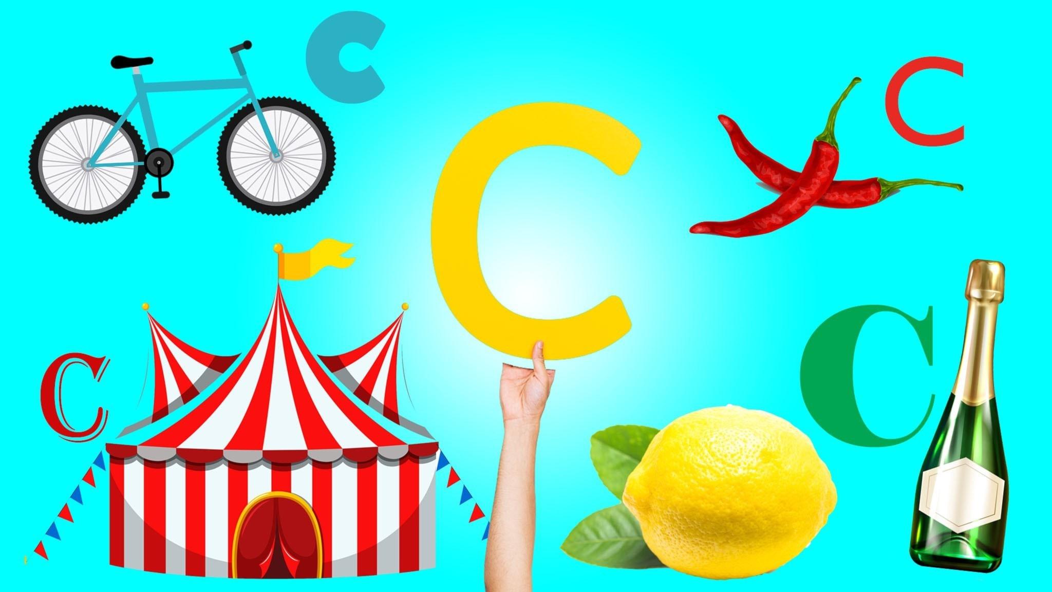 Ord på C, cykel, citron, cirkus, champagne, chilli och hand som håller i bokstaven C.