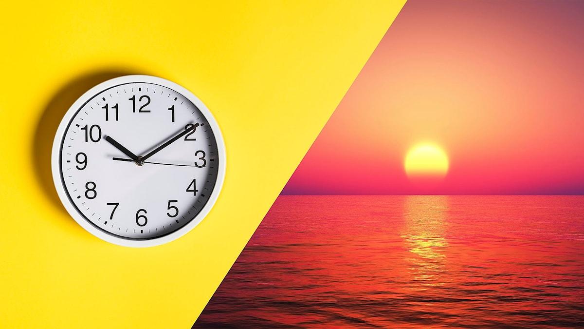 Klocka och solnedgång