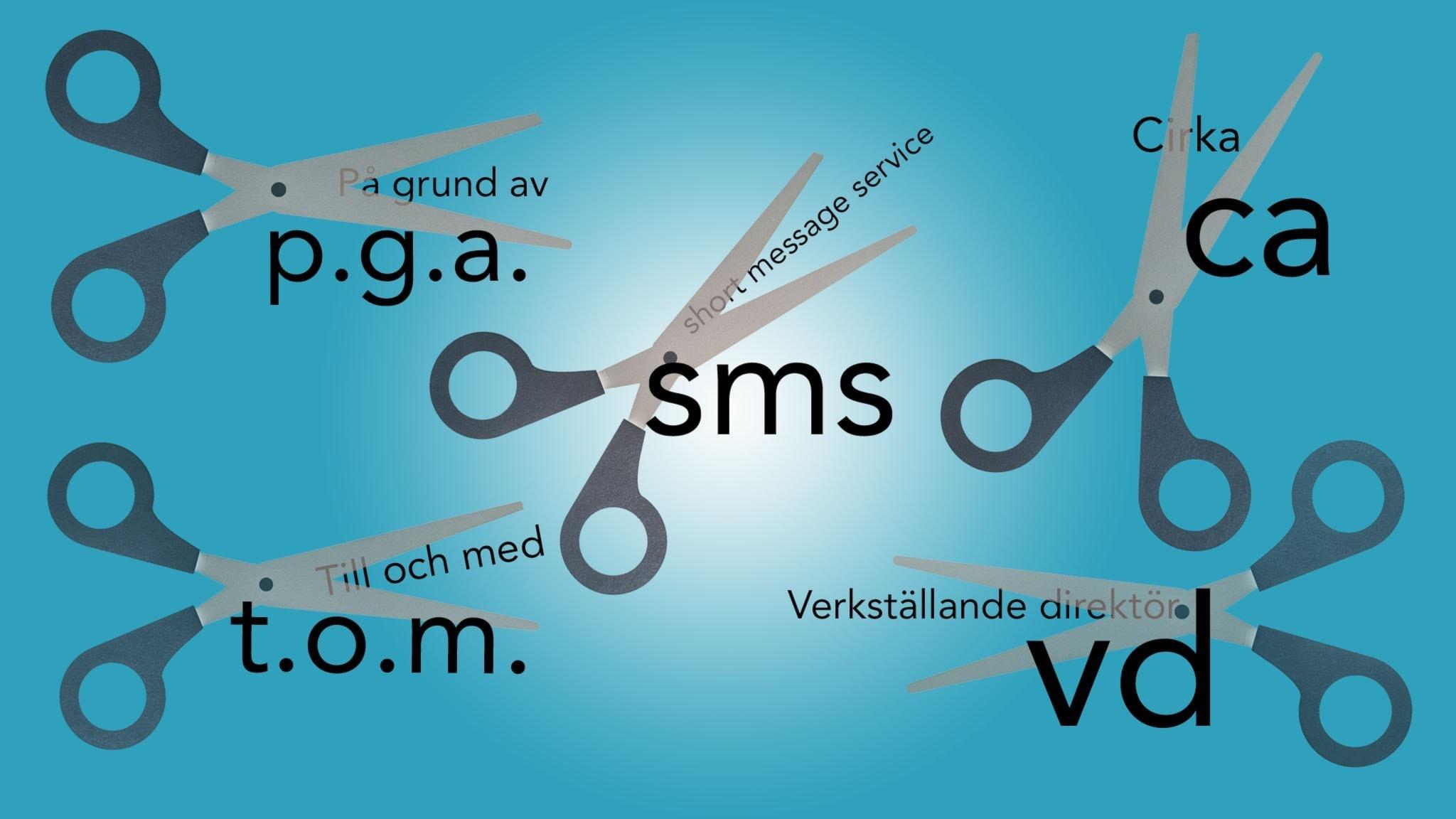 Saxar som klipper av orden på grund av, short message service, cirka, till och med och verkställande direktör, till förkortningarna p.g.a., sms, ca, t.o.m. och vd.