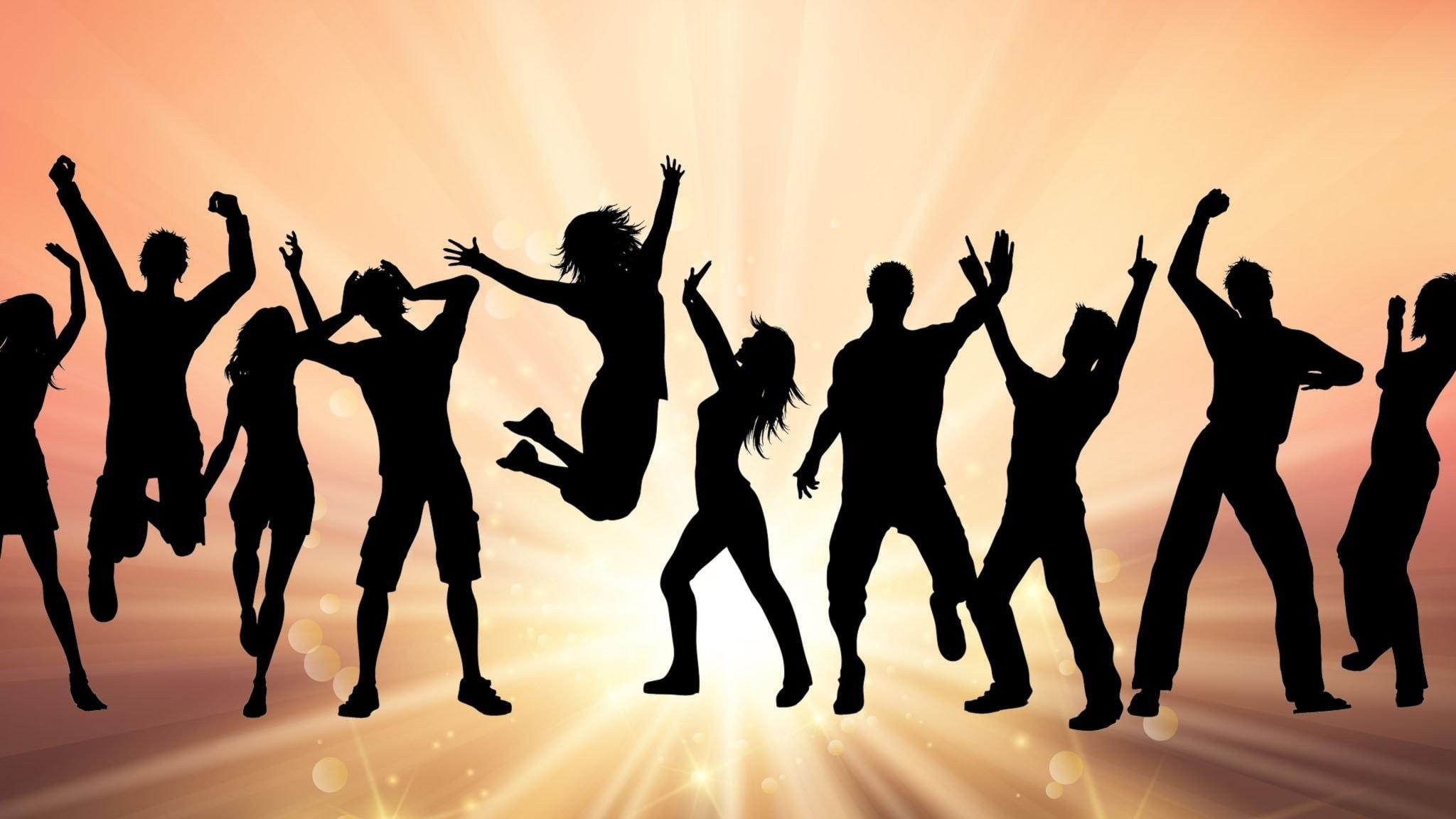 Illustration med siluetter av dansande människor.