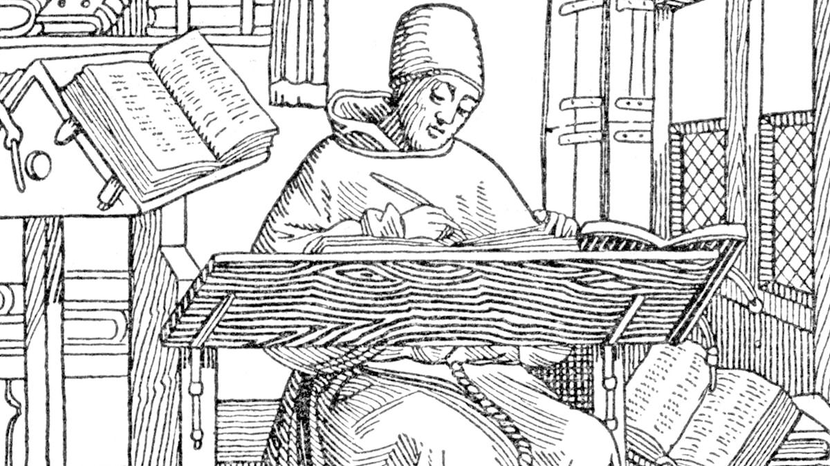 Munk renskriver i ett Scriptorium på medeltiden.