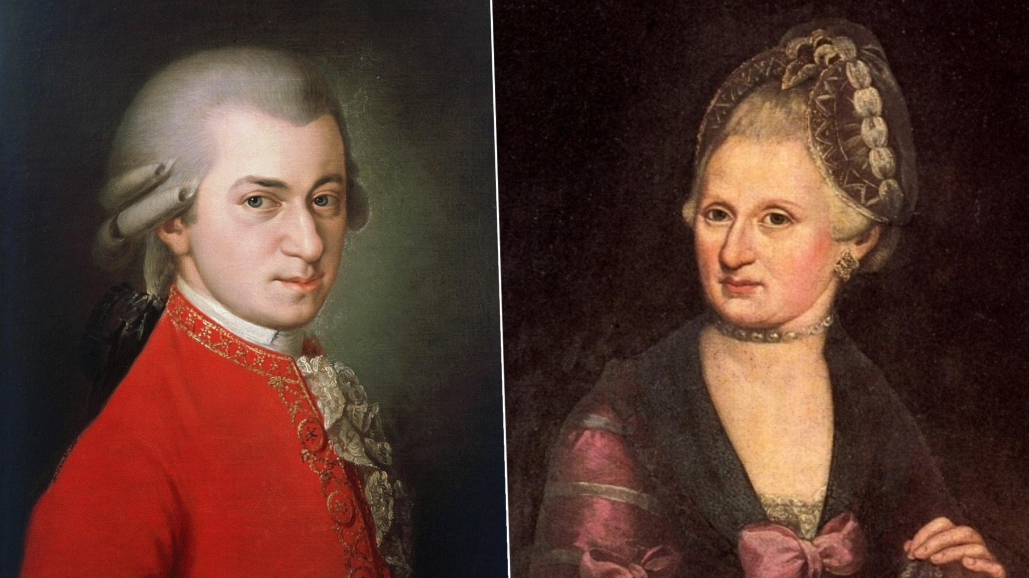 Bild: Wolfgang Amadeus Mozart med sin mamma Anna Maria Pertl.