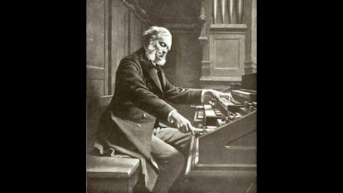 César Franck vid orgeln - Porträttmålning av J. Rongier (1880-tal), publicerad i Vincent d'Indys Franckbok (1910), fotoateljé Braun & Co