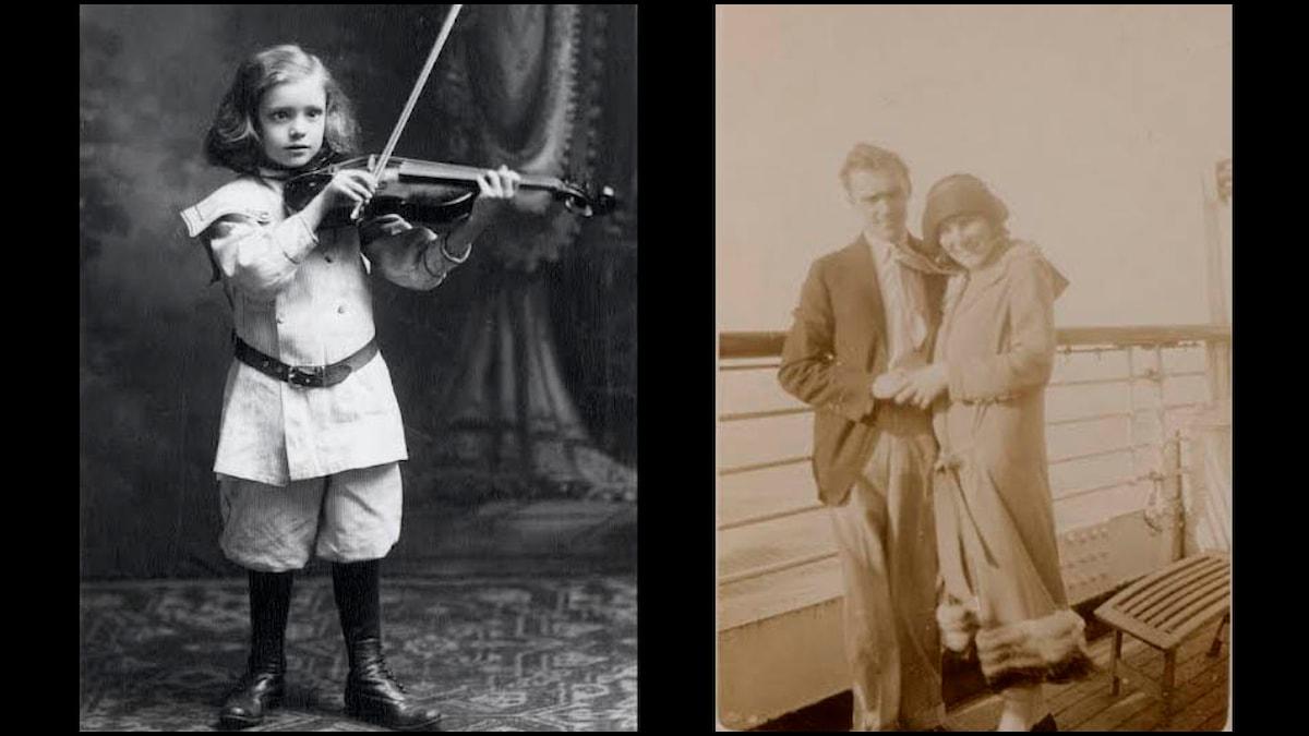 Det musikaliska Einar Swan vid 7 års ålder och som nygift med Anne Kaufmann. Foto: privat.