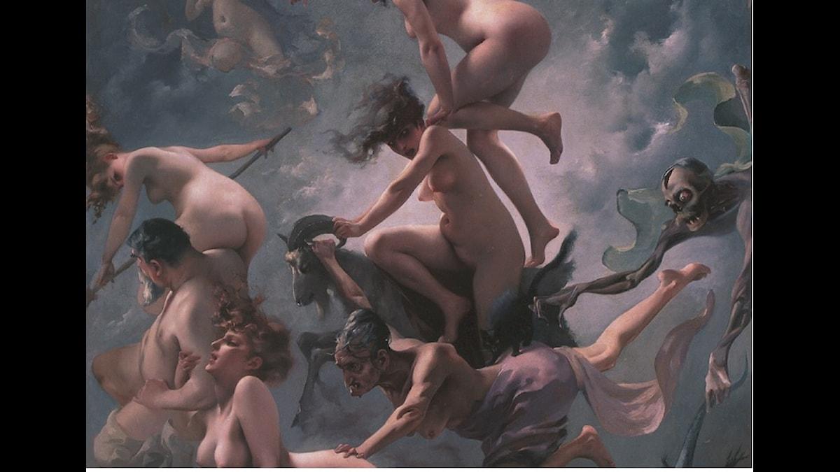 Häxor på väg till Sabbath - av Luis Ricardo Falero (1878)