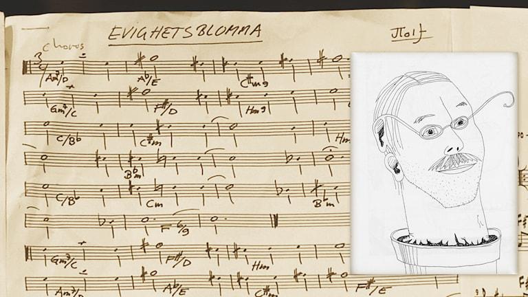 Jenny Wikström har tecknat porträttet av Jan Tolf som krukväxt med särskild förmåga att lyssna