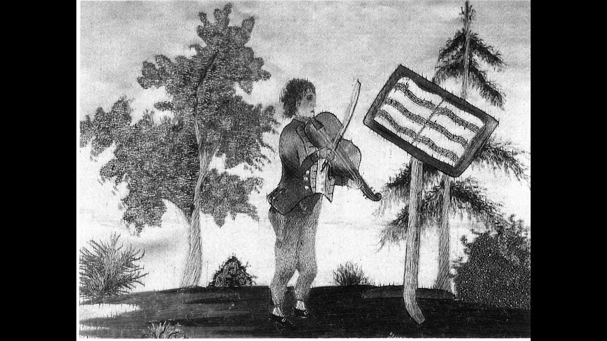 Franz Berwald som violinistunderbarn. Silkebroderi med hårlock från Franz utfört av en av hans systrar. Nordiska Museet, Stockholm