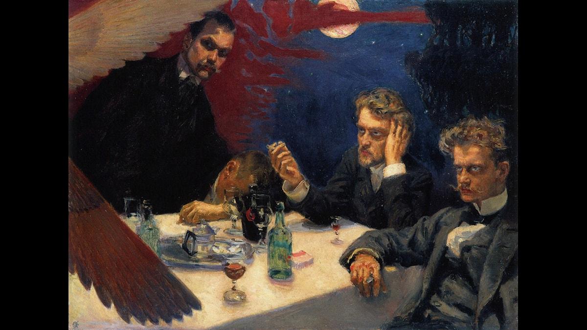 Akseli Gallen-Kallelas målning Symposium med Sibelius längst till höger. Foto, Wikimedia Commons