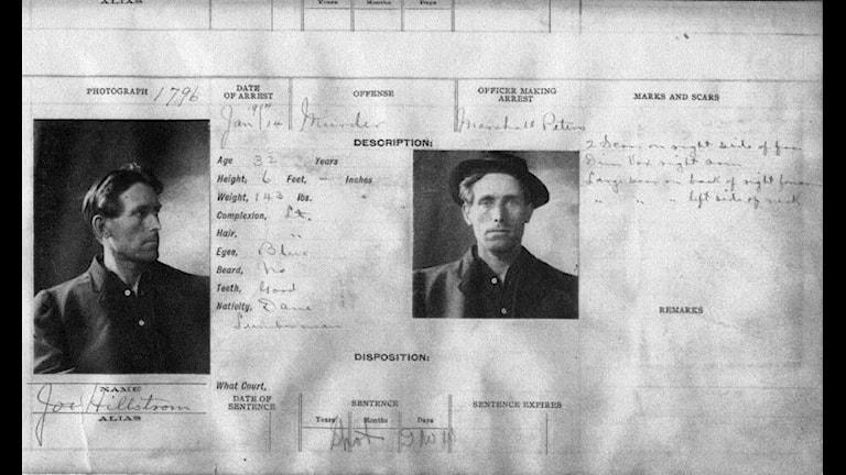 Joe Hills identitetskort - Foto polisen i Salt Lake City