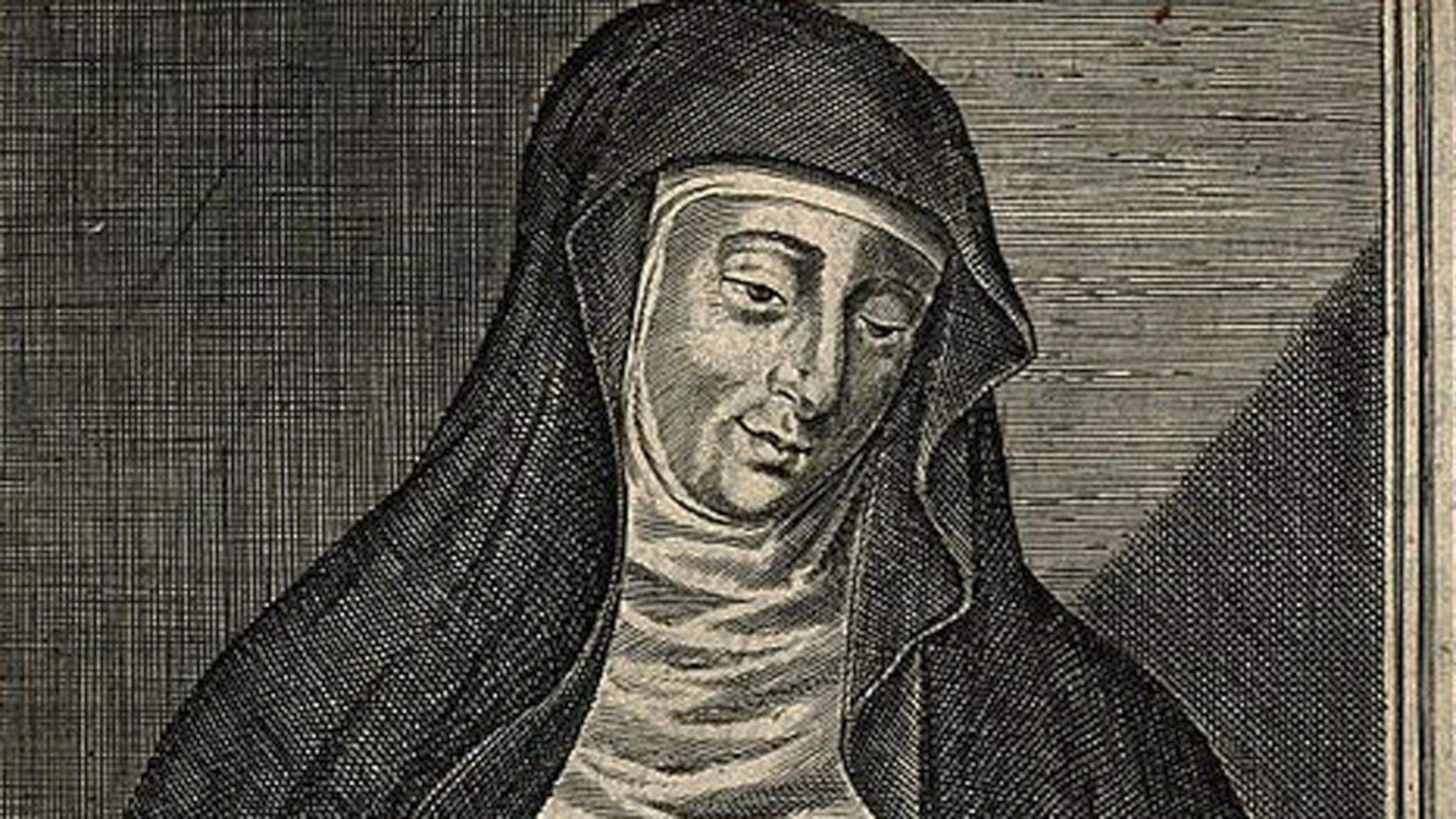 Hildegard av Bingen. Gravyr på papper av W Marshall Wellcome. Foto: Wikimedia commons.