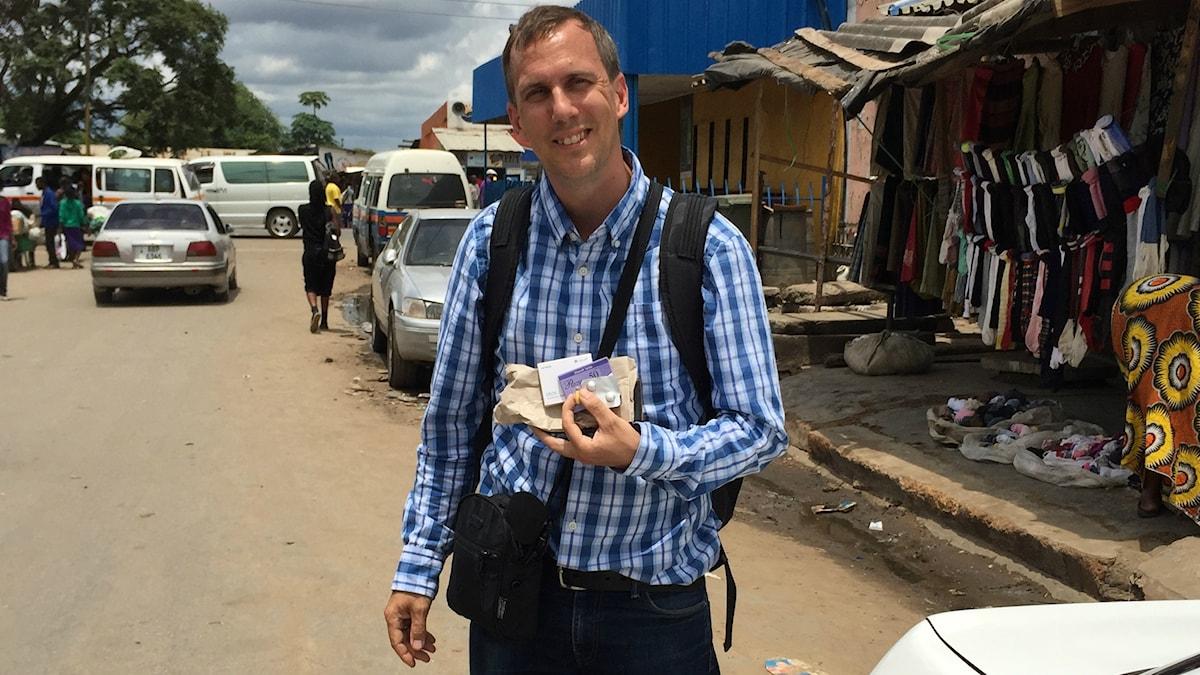 Johan Bergendorff på gata mi Zambia