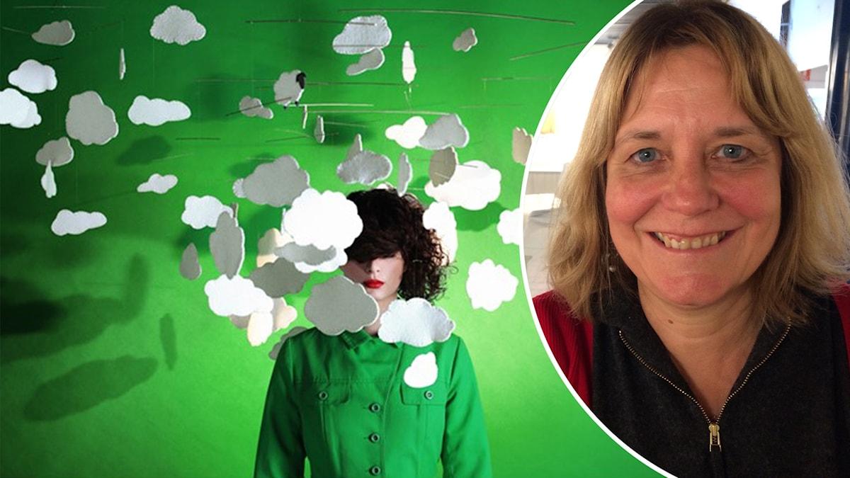 Monterad bild. Till höger en kvinna med en mobil avmoln runt huvudet. Till höger Isabelle Arnulf, professor i neurologi.