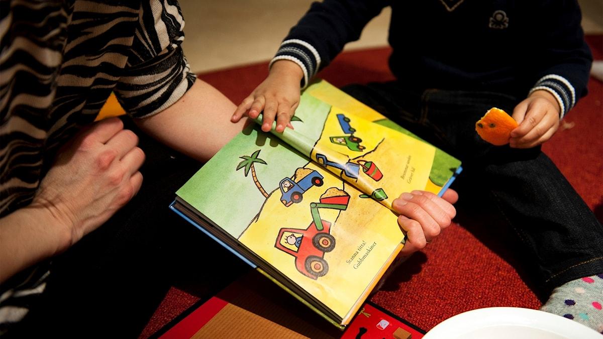 En vuxen person läser en sagobok för ett litet barn.