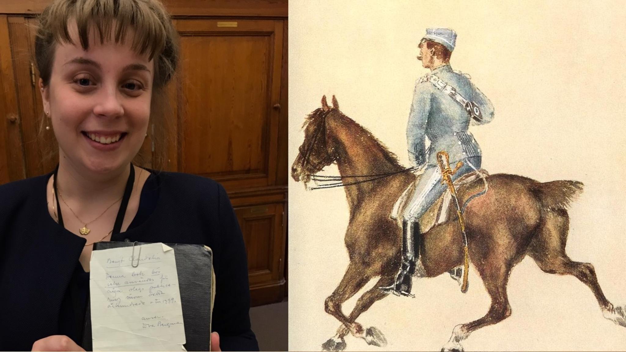 """Museipedagogen Michaela Carlberg med Claudelins """"klotterbok"""". Och en målning av en hästgardist i uniform, till häst."""