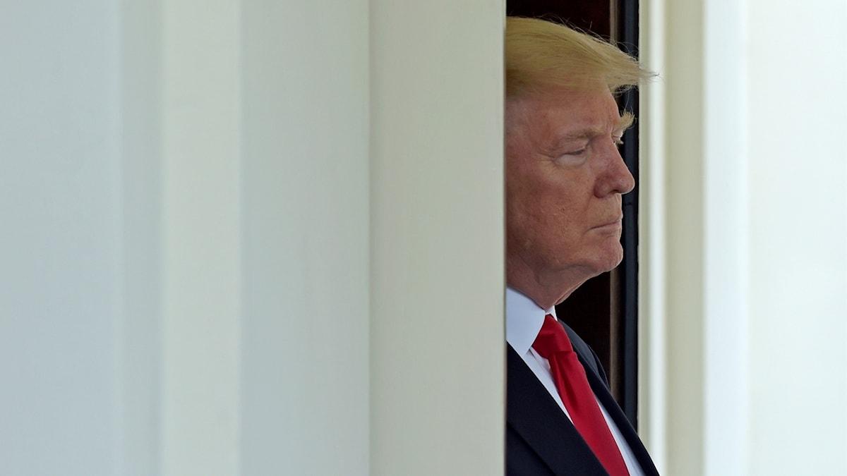 Donald Trump på väg ut från en dörr