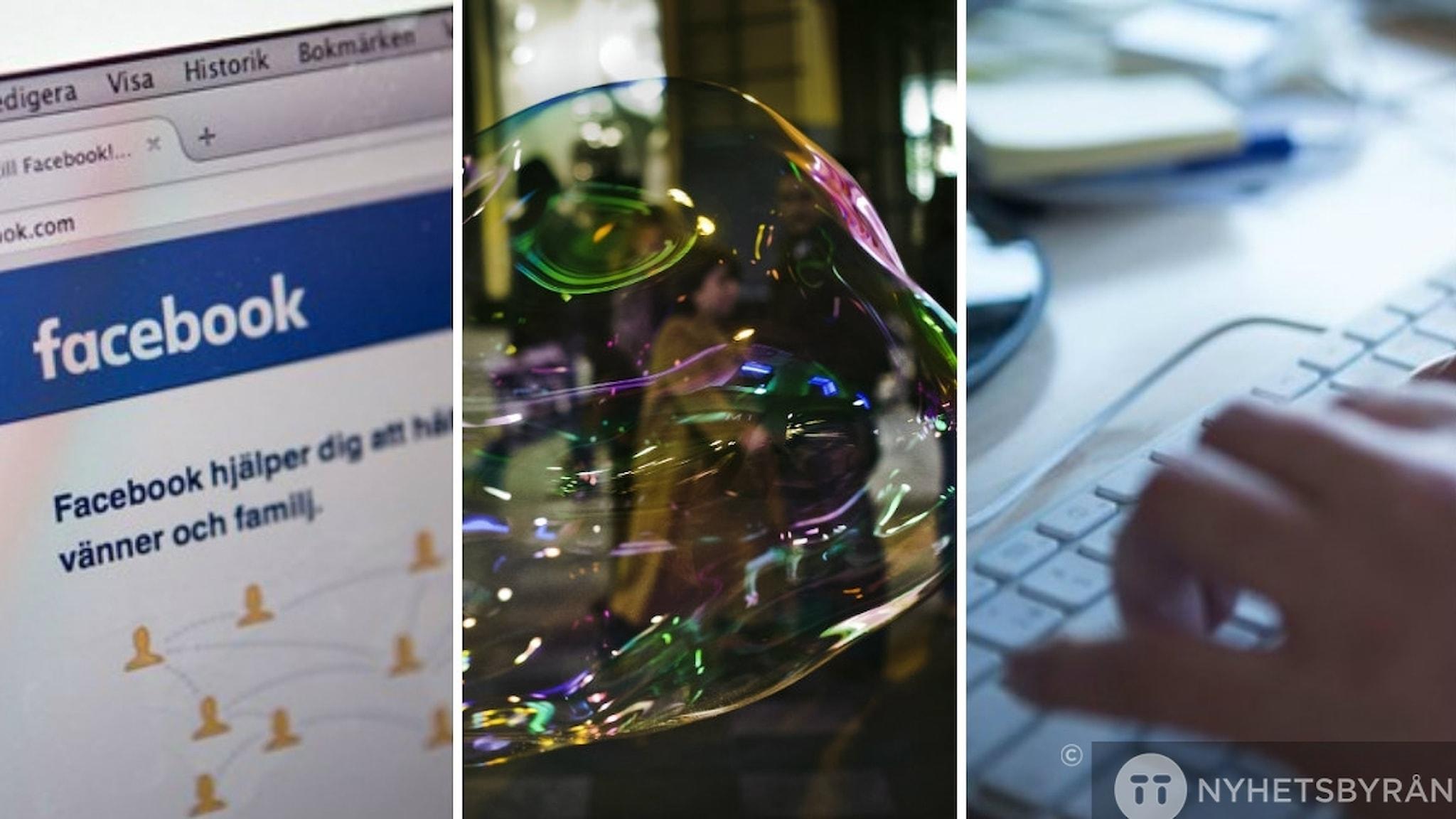 kollace med bild på facebook, bubbla och tangentbord