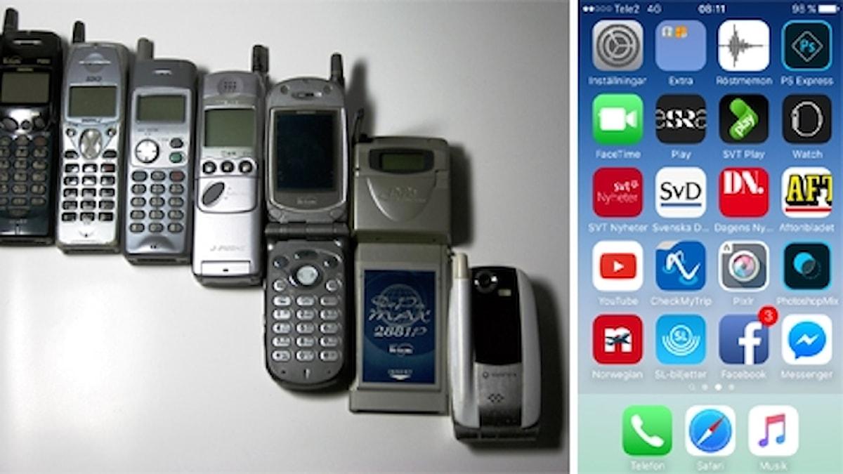 gamla mobiltelefoner och en smartphone