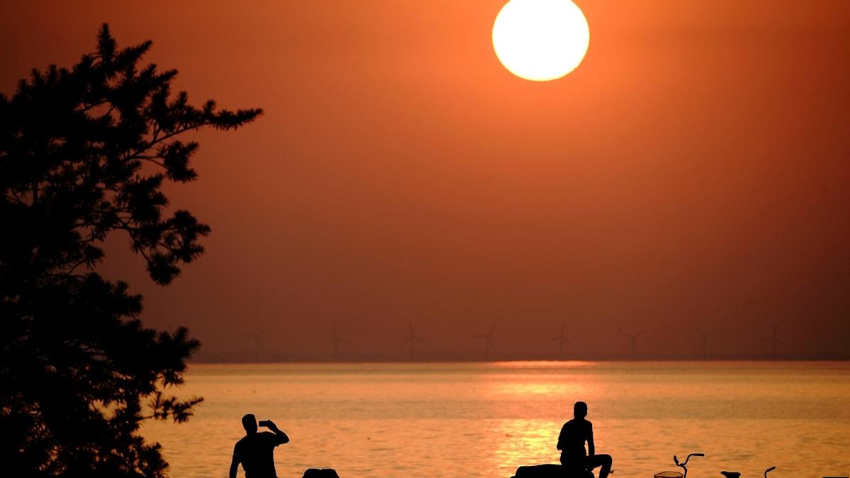 Två personer sitter vid en strand i solnedgången. Solen har färgat himlen orange.
