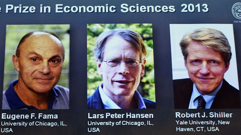 Eugene Fama, Peter Hansen och Robert Shiller delar pris men inte slutsatser. Foto: Claudio Bresciani/TT