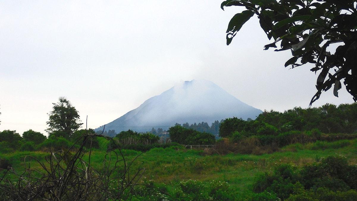 Vulkanen Sinabung hade stort utbrott i februari 2014.