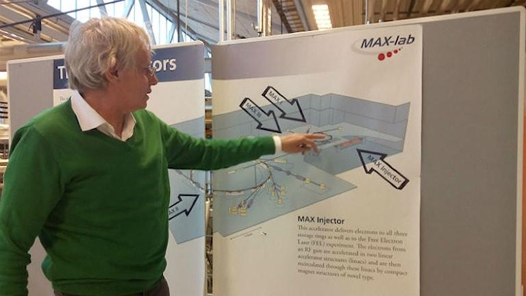 Lars pekar på en bild på forskningsanläggningen MAX-lab