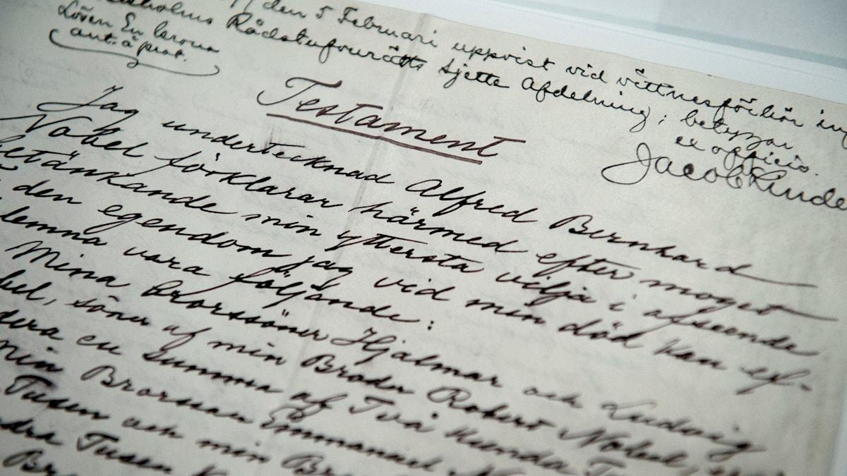 Ark med Nobels handskrivna testamente. Foto: Jessica Gow/TT