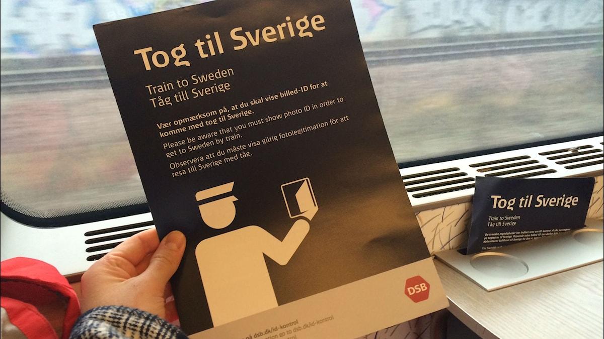 Skylr om vad som gäller för tågresa till Sverige. Foto: Niklas Zachrisson/SR