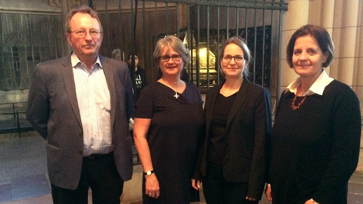 Forskarna Christian Lovén, Sabine Sten, Anna Kjellström, Kerstin Lidén. Foto: Camilla Widebeck/ SR