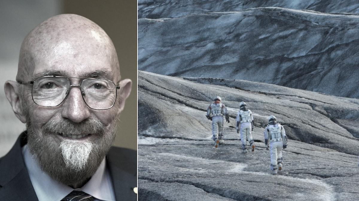 Kollage med Nobelpristagaren Kip Thorne till vänster och scen från filmen Interstellar till höger.