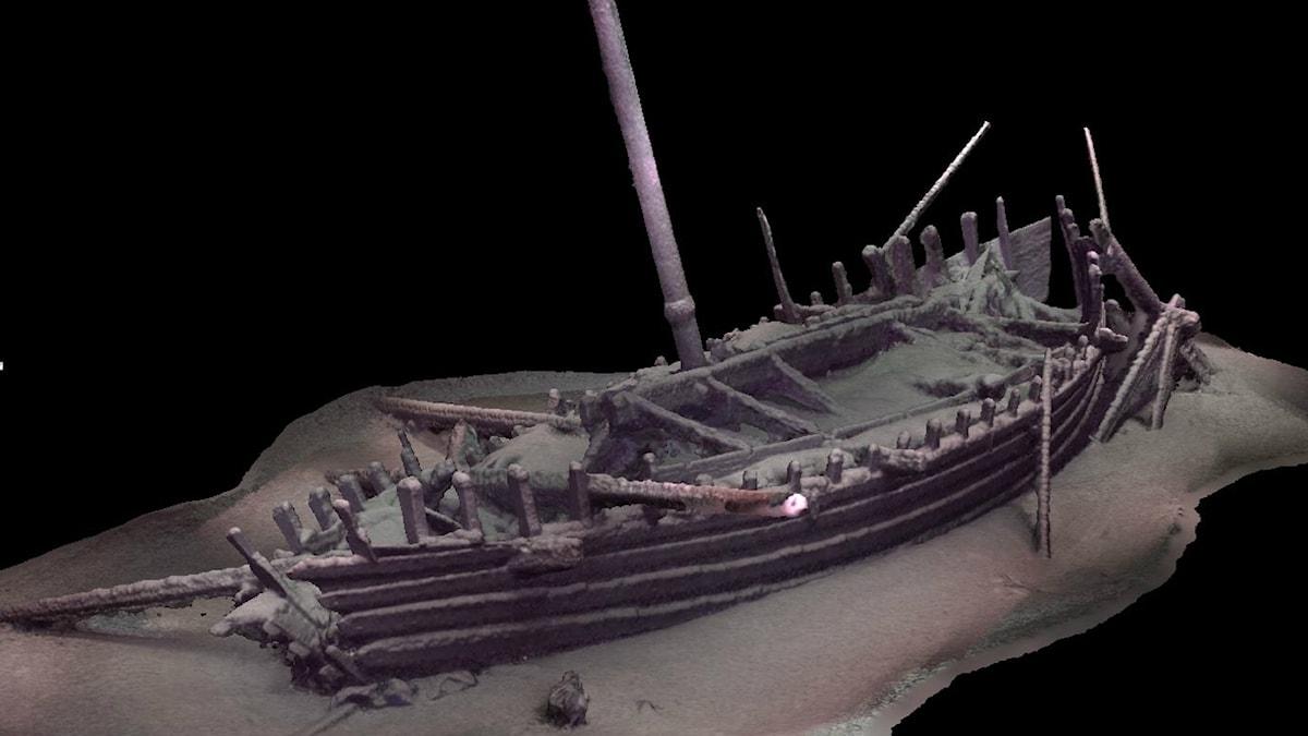 Preliminär fotogrammetrisk modell för Black Sea MAP: s upptäckt av ett romerskt skepp som ligger på över 2000 meters vattendjup.