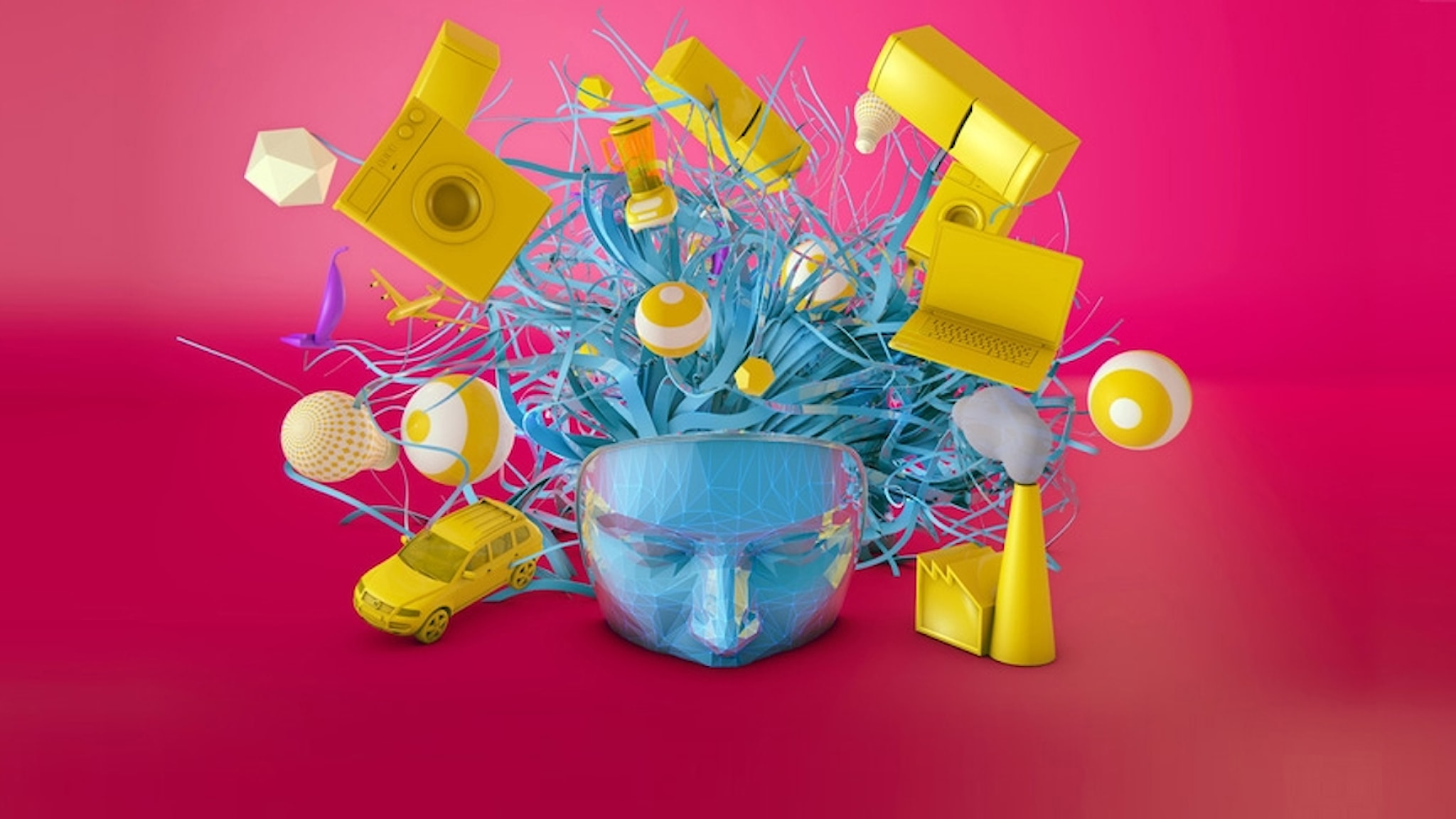 illustration av saker omkring ett huvud