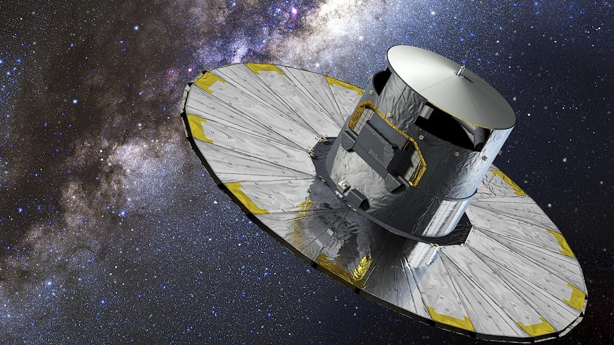 Satelliten ser ut som en rund stor silverhatt