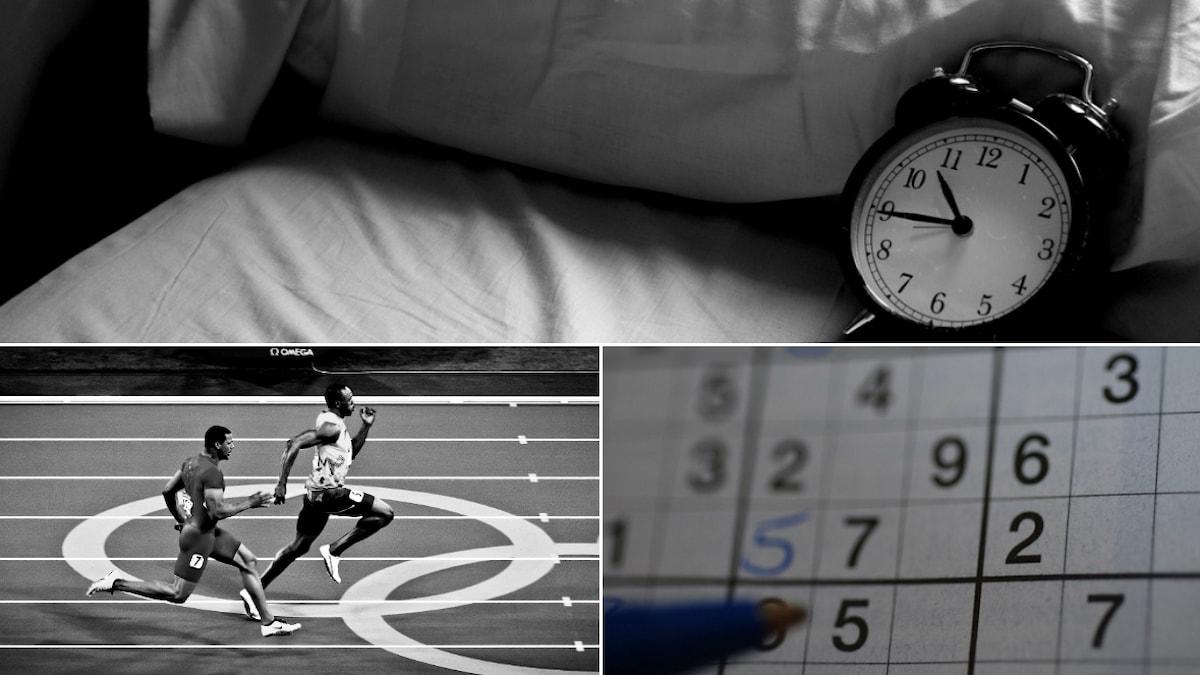 tre bilder i kollage: klocka, löpning och sudokukryss