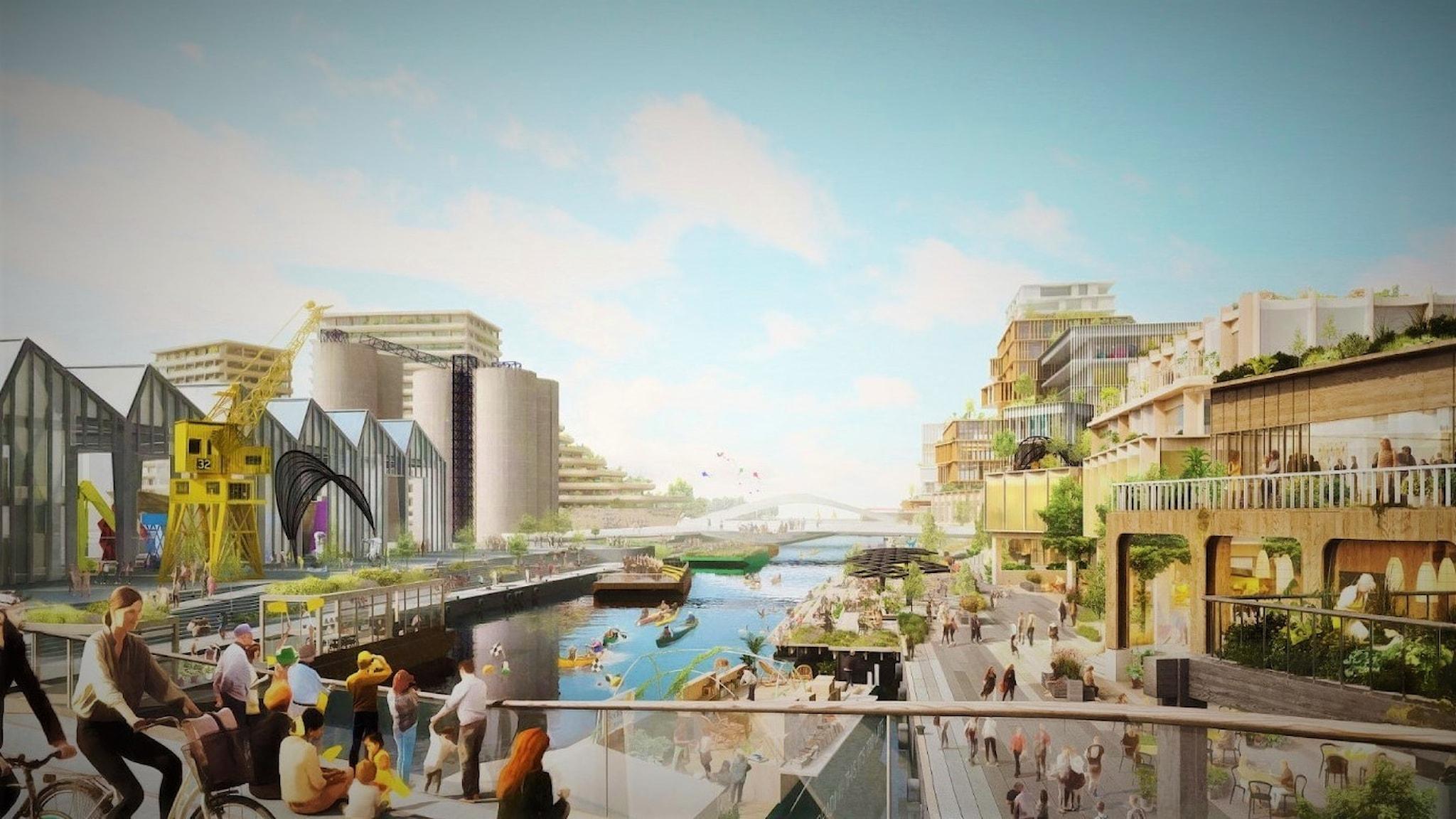 Teckning av hur en smart stad ska se ut.