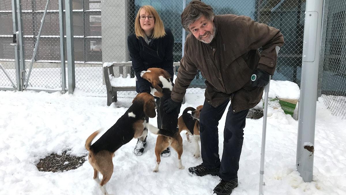 Hanna Palmqvist och Rolf Spörndly, med hundar