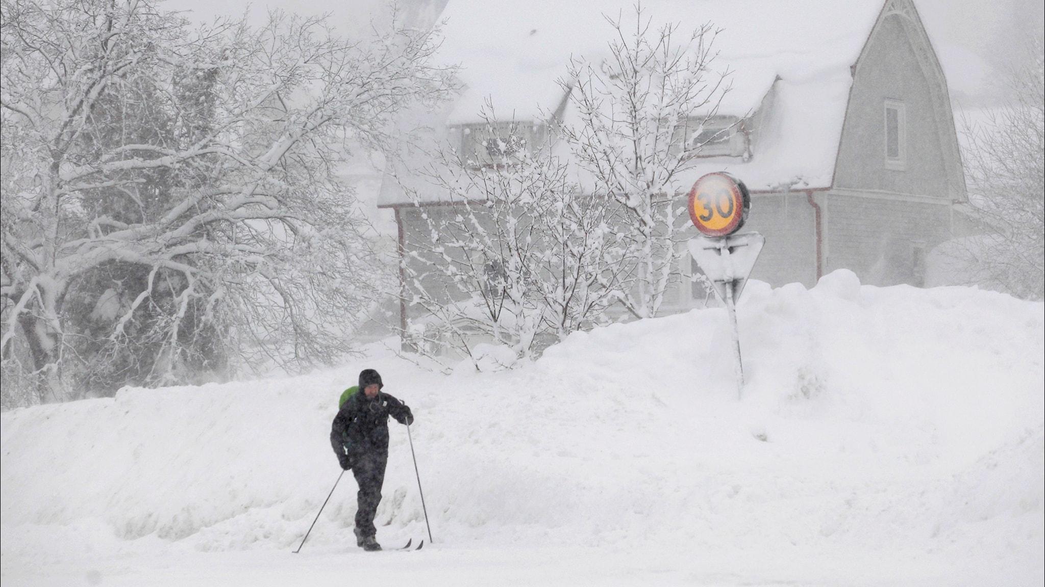 En person tar sig fram i ett snöigt landskap på skidor.