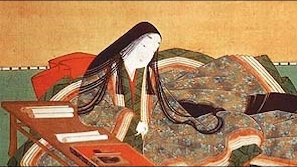Illustration Murasaki vid ett bord med papper