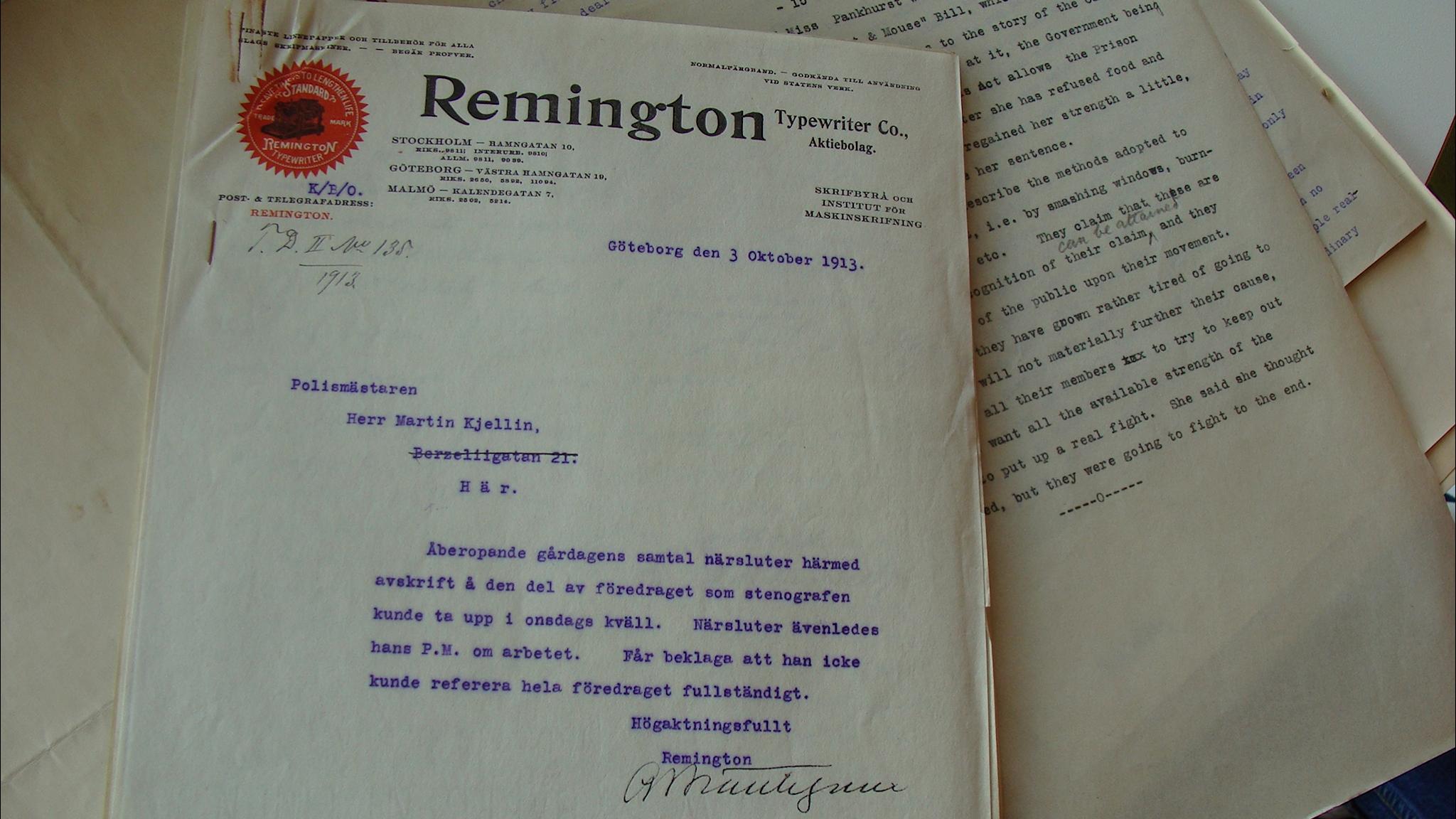 Mytomspunnet rösträttstal från 1913 återfunnet