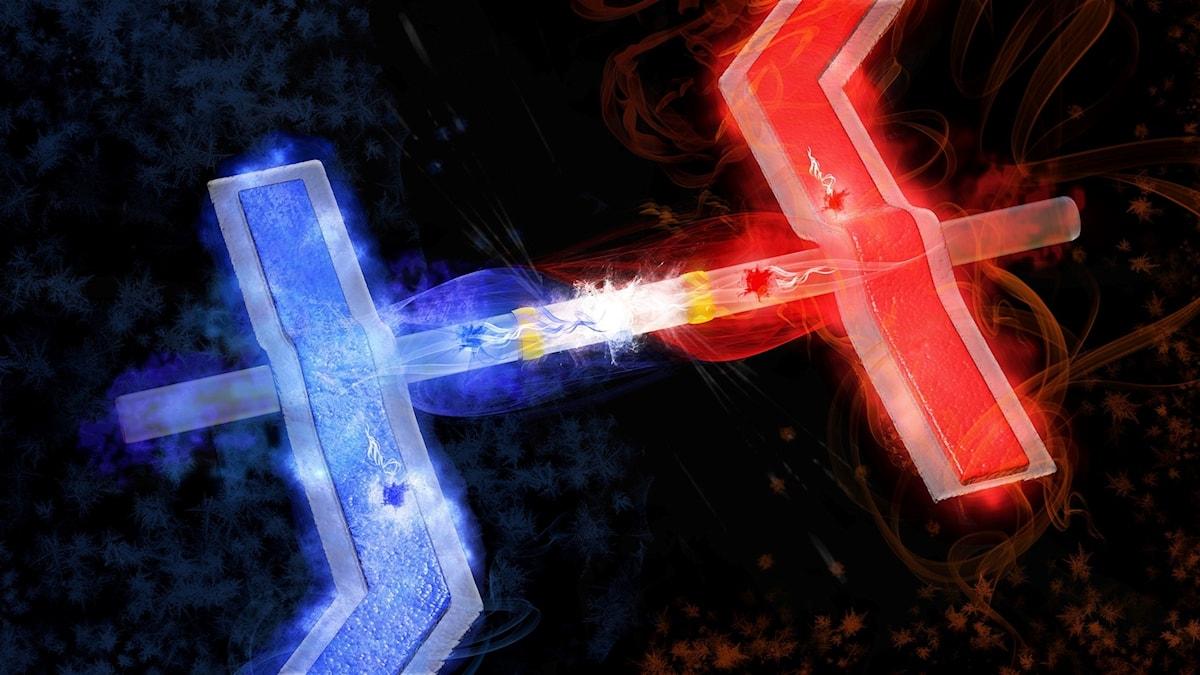 En blått lysande pinne och en rött lysande, hoplänkade av något som lyser vitt