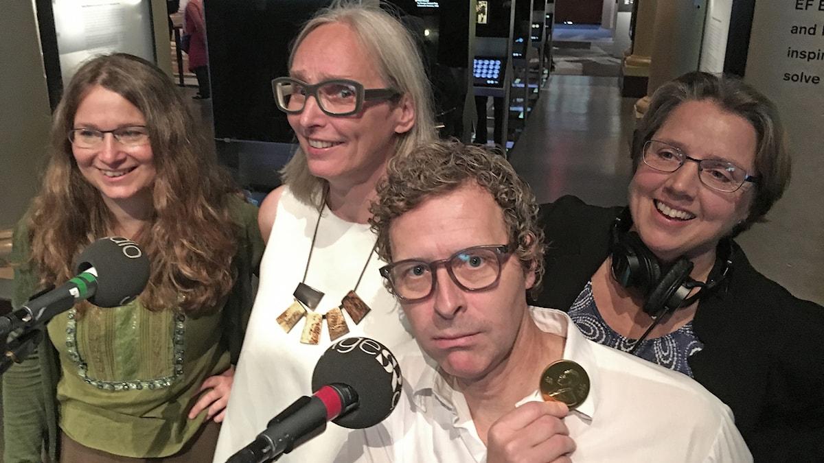 Ulrika Björkstén, Annika Östman, Gustaf Klarinoch Camilla Widebeck på Nobelmuseet