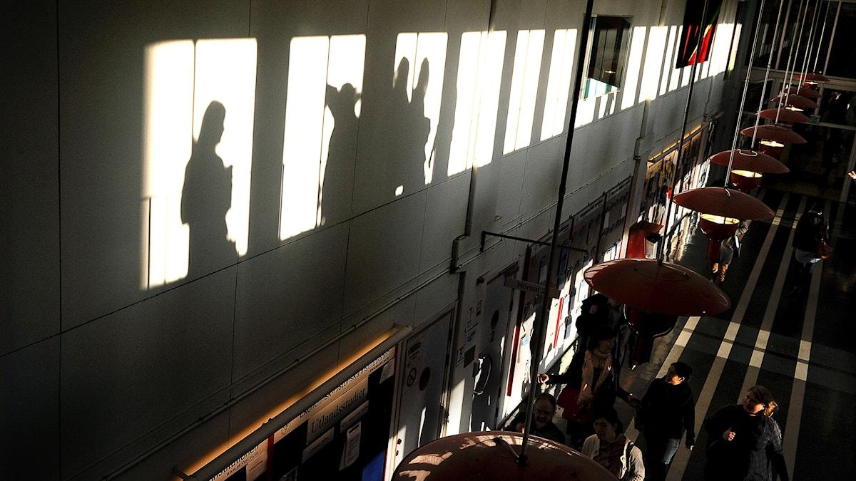 Studenter bildar skuggor i korridor