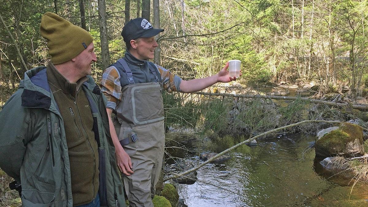 Biologerna står vid en bäck med en plastmugg