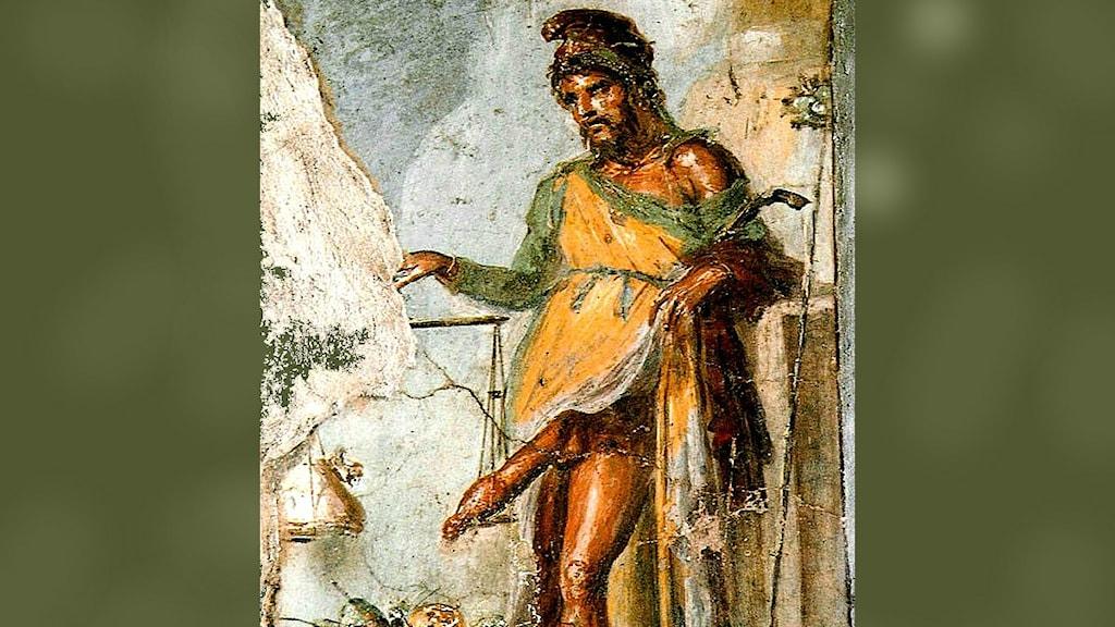 Priapism har fått sitt namn efter grekiska guden Priapos som på den här fresken avbildats med sitt enorma könsorgan framme.