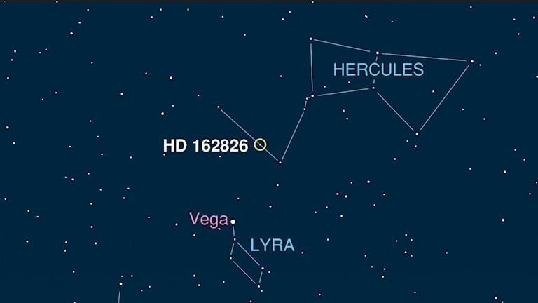 Solsyskonet HD162826 kan man se med kikare om man riktar den mot stjärnbilden Herkules. Bild: Ivan Ramirez/Tim Jones/McDonald Observatory