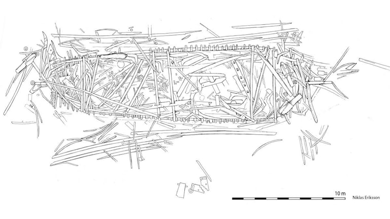 planritning av vraket Resande mannen som sjönk 1660. Bild: Niklas Eriksson