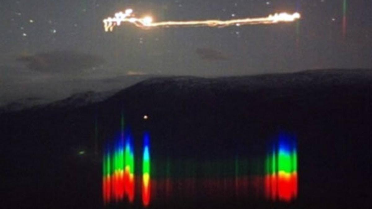Bild på hessdalenljus tagen av en spektralkamera. Foto: Project Hessdalen