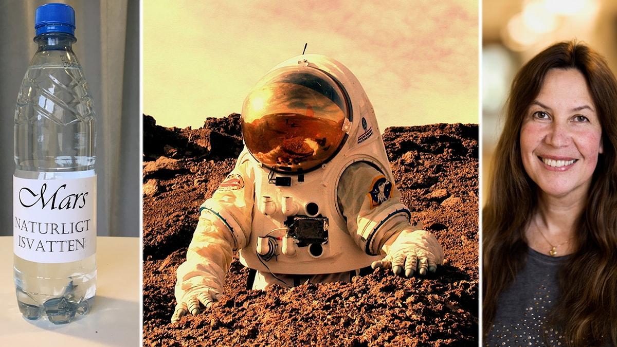 """Bilden visar en flaska med texten """"Mars Naturligt isvatten"""", ett foto av en astronaut som ser ut att vara på Mars, och forskaren Maria Sundin."""